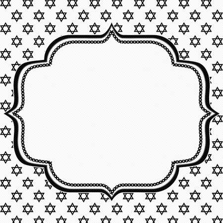 star shaped: Black and White Star of David Patterned Background with Embroidery with center for copy-space, Classic Star of David Patterned Background