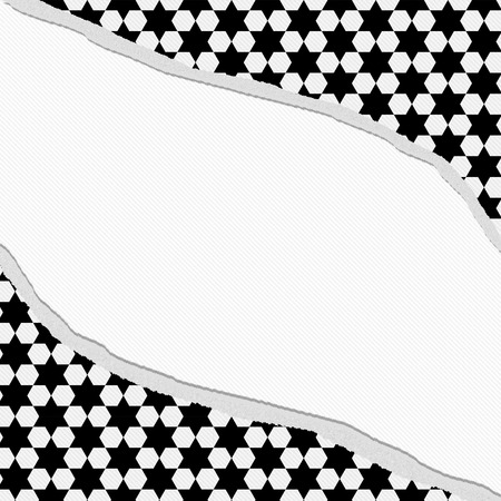 Black and White Hexagon Torn Background with center for copy-space, Classic Torn Hexagon Frame photo