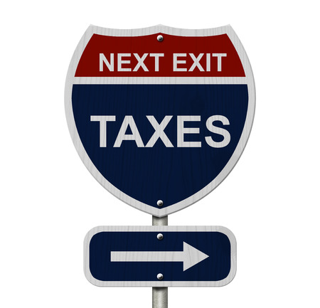 Taxes this way, Blue and Red Interstate Sign with word Taxes and an arrow isolated over white photo