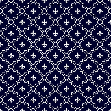 navy blue background: Navy Blue and White Fleur-De-Lis Pattern Textured Fabric Background that is seamless and repeats