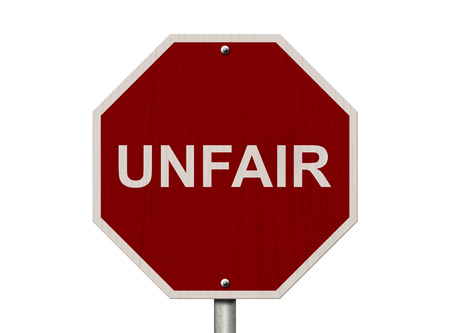 unjust: Unfair Sign, Red Stop sign with word Unfair isolated on white Stock Photo