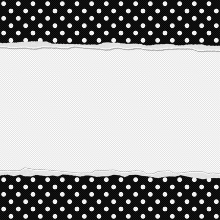 white polka dots: Black and White Polka Dot  Frame with Torn Background with center for copy-space, Classic Torn Polka Dot  Frame