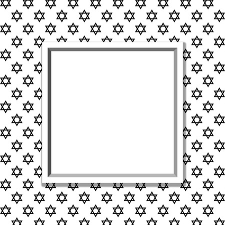 to white: Black and White Star of David Patterned Background with Frame with center for copy-space, Classic Star of David Patterned Background Stock Photo