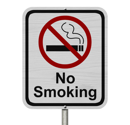 No Smoking Sign, Red and White sign with words No Smoking and cigarette symbol isolated on white