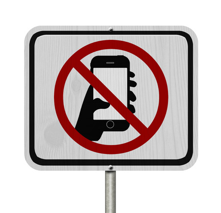 phone ban: No Texting and Driving Sign, White Information sign with symbol of a hand and texting isolated on a white background Stock Photo
