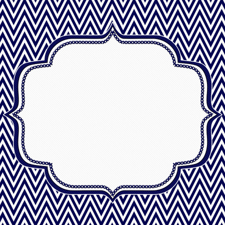 Navy Blue and White Chevron Zigzag Frame Background with center for copy-space, Classic Chevron Zigzag Frame photo