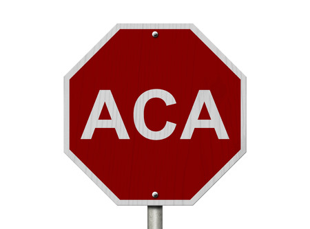 affordable: Stop ACA Sign Affordable Care Act, An American road stop sign with word ACA isolated on white Stock Photo