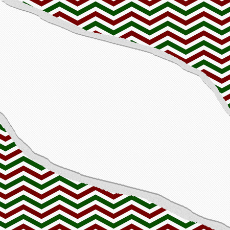 Red, Green and White Chevron Frame with Torn Background with center for copy-space, Classic Torn Chevron Frame Banque d'images