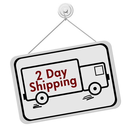 overwhite: A red and white sign with the words 2 Day Shipping in a truck isolated on a white background, Two Day Shipping Sign