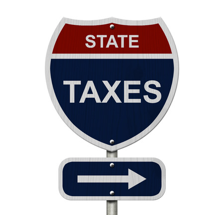 State Taxes this way, Blue and Red Interstate Sign with word State Taxes and an arrow isolated over white