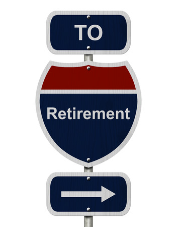 overwhite: Retirement this way, Blue and Red Interstate Sign with word Retirement and an arrow isolated over white