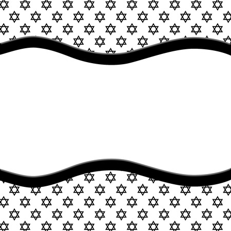 Black and White Star of David Patterned Background with Ribbon with center for copy-space photo