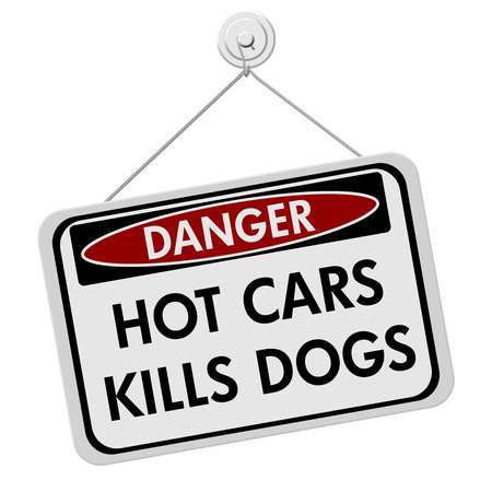 Dangers of leaving a dog in parked cars, A red and black danger sign with the words HOT CARS KILLS DOGS isolated on a white background photo