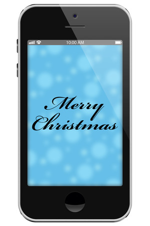 overwhite: Merry Christmas, Cell Phone with text Thank You isolated on a white background