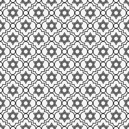 estrella de david: Negro y blanco de la estrella de David de la repetición de fondo que es transparente y se repite Foto de archivo