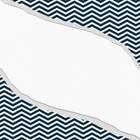Navy Blue and White Chevron Frame with Torn Background with center for copy-space, Classic Torn Chevron Frame Banque d'images