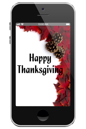 Happy Thanksgiving, Cell Phone with text Happy Thanksgiving isolated on a white background photo