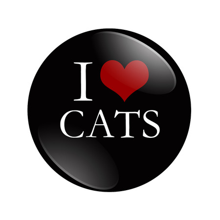 I Love Cats button, A black and red  button with word Cats isolated on a white background