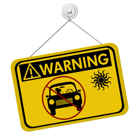 Warning of leaving a dog in parked cars, A yellow and black warning sign with symbols of dog in car  isolated on a white background photo
