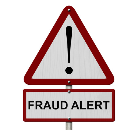 Fraud Alert Caution Sign, Red and White Triangle Caution sign with words Fraud Alert isolated on a white background photo