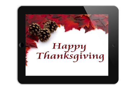 Happy Thanksgiving, Tablet with text Happy Thanksgiving isolated on a white background photo