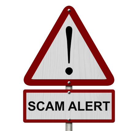 Scam Alert Caution Sign, Red and White Triangle Caution sign with words Scam Alert isolated on a white background photo