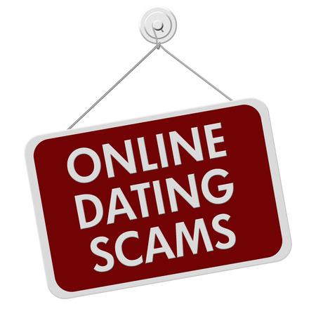 deceit: A red and white sign with the words Online Dating Scam isolated on a white background Stock Photo