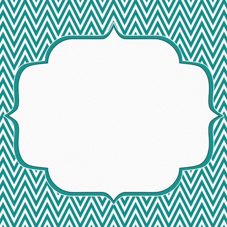 Teal and White Chevron Zigzag Frame Background with center for copy-space, photo