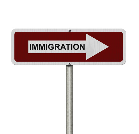 immigrate: The way to Immigration, Red and white street sign with word Immigration isolated on white