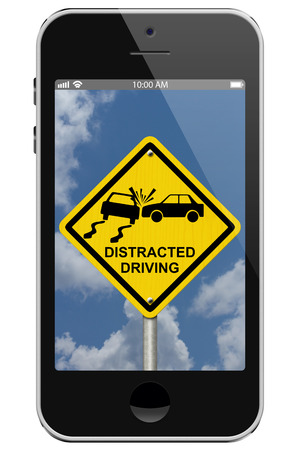 Warning of Distracted Driving, Mobile Phone Warning of Distracted Driving Sign isolated on a white background