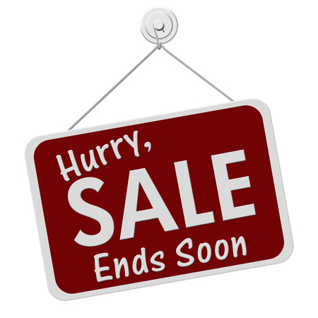 A red and white sign with the words Hurry, Sale Ends Soon isolated on a white background