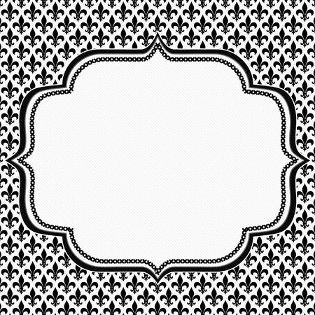 Black and White Fleur De Lis Pattern Textured Fabric  with Embroidery Background with center copy-space, Classic Background photo
