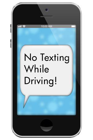 interdiction telephone: Aucune Texting While Driving, T�l�phone mobile avec des mots Pas Texting While Driving au texte bulle isol� sur un fond blanc