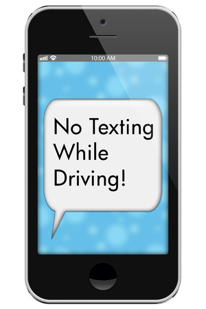 No Texting While Driving, Mobile Phone with words No Texting While Driving in Text Bubble isolated on a white background photo
