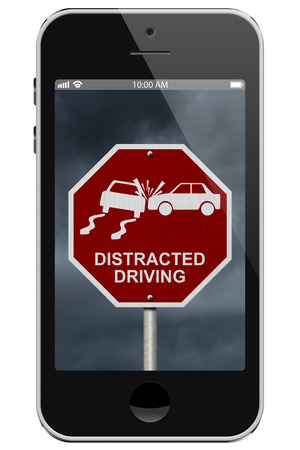 Warning of Distracted Driving, Mobile Phone Warning of Distracted Driving Sign isolated on a white background photo