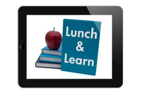 almuerzo: Programaci�n de un Lunch and Learn, Tableta con texto Lunch and Learn aislado en un fondo blanco Foto de archivo