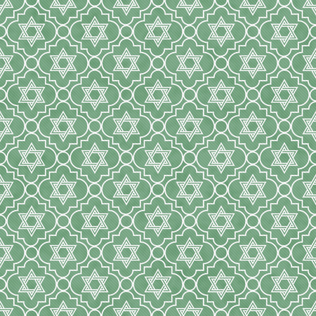 Green and White Star of David Repeat Pattern Background that is seamless and repeats photo