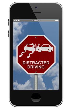 interdiction telephone: Avertissement de la distraction au volant, mobile Avertissement de t�l�phone de la conduite inattentive signe isol� sur un fond blanc Banque d'images