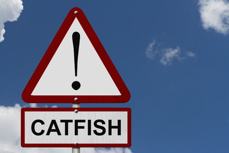 Catfish Caution Sign, Red and White Triangle Caution sign with word Catfish with sky background photo