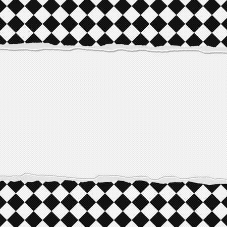 cuadros blanco y negro: Marco blanco y negro a cuadros con fondo rasgado con el centro para la copia-espacio, marco a cuadros Torn Clásico