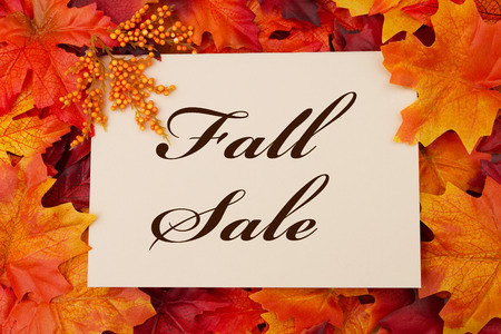 A Fall Sale card, A beige card with words Fall Sale over red and orange maple leaf background photo