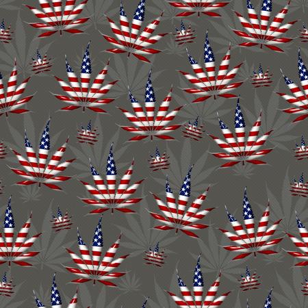 hoja marihuana: Hoja de Marihuana con los colores de la bandera de Estados Unidos Hoja de Marijuana modelo de la repetición de fondo que es transparente y se repite