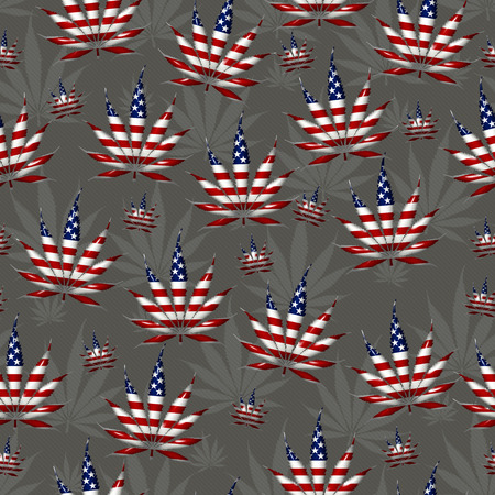 marijuana leaf: Marijuana Leaf with the colors of American flag Marijuana Leaf Pattern Repeat Background that is seamless and repeats Stock Photo