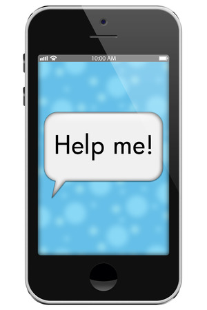 help me: Help Me, Mobile Phone with words Help Me in Text Bubble isolated on a white background