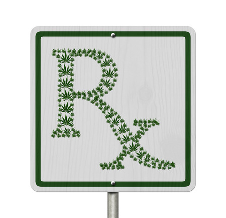 under the influence: Driving Under the Influence of  Marijuana, A road highway sign with a prescription sign of marijuana leaf isolated on white