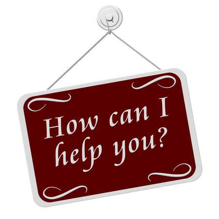 rectángulo: �C�mo puedo ayudar Usted se�al, una se�al de color rojo y blanco con las palabras �C�mo puedo ayudar Usted signo aislado sobre un fondo blanco Foto de archivo
