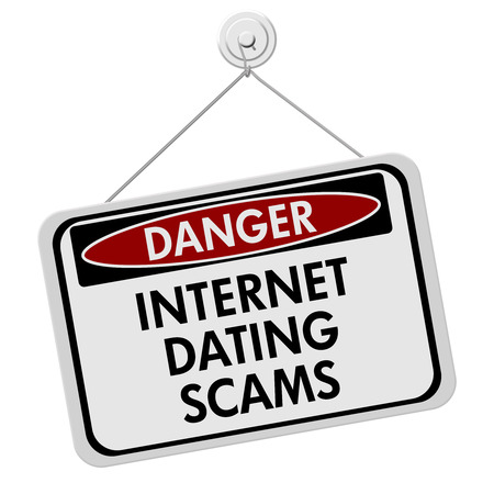 internet dating: Dangers of Internet Dating Scams Sign, A red and black danger sign with the words Internet Dating Scams isolated on a white background Stock Photo