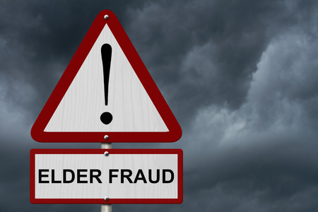 Elder Fraud Caution Sign, Red and White Triangle Caution sign with word Elder Fraud with stormy sky background