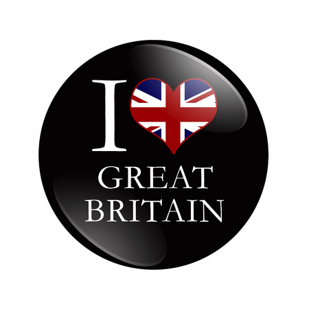 I Love Great Britain button,  A black button with words I Love Great Britain and a heart with the flag isolated on a white background photo