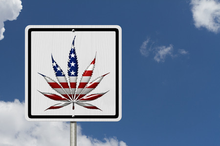 under the influence: Driving Under the Influence of  Marijuana, A road highway sign with a marijuana leaf in USA flag colors with sky background